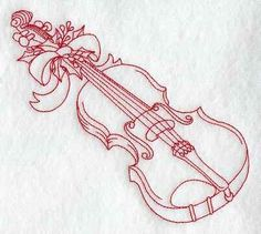 Redwork Violin Embroidery Pattern:  http://www.windstarembroidery.com