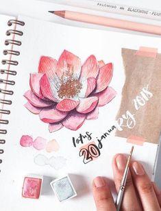 Beautiful watercolor flower illustration / drawing by ig@elliholi.
