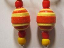 Ohrringe Quillingkugel orange-gelb