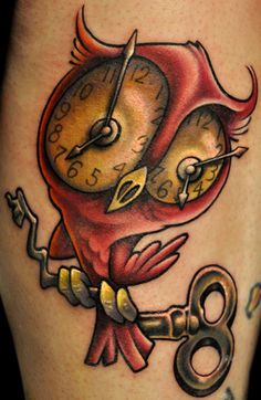 I really want to like this owl with clock eyes tattoo. It's been done very well, but I'm still not sure...