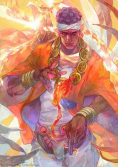 Avdol Muhammad from Jojo's Bizarre Adventure. Jojo Anime, 5 Anime, Anime Art, Jojo's Bizarre Adventure Anime, Jojo Bizzare Adventure, Jojo Bizarro, Johnny Joestar, Character Art, Character Design