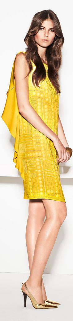 Escada Spring 2014 Ready-to-Wear yellow dress women fashion outfit clothing style apparel closet ideas Jaune Orange, Yellow Fashion, Color Fashion, Dress Fashion, Vogue, Mellow Yellow, Neon Yellow, Color Yellow, Dress Picture
