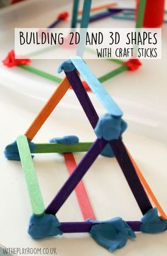 Building 2D & 3D Shapes with Craft Sticks - In The Playroom