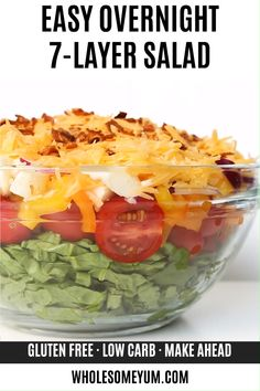 Easy Traditional Overnight Recipe - This EASY traditional seven layer salad recipe (aka 7 layer salad) is an overnight layered salad recipe and takes 15 minutes to assemble! Best Salad Recipes, Salad Recipes Video, Chicken Salad Recipes, Healthy Recipes, Keto Recipes, Club Salad Recipe, Simple Salad Recipes, Chef Salad Recipes, Easy Salads
