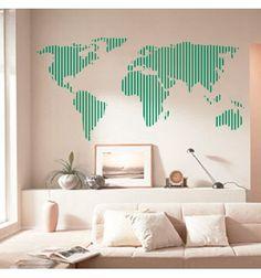 Vinilo decorativo barato de un mapamundi de pared formado por rayas. Original mapa de vinilo adhesivo.