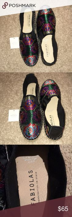 NEW! Fabiolas Black Embroider Espadrilles NWT-NEVER WORN! Fabiolas Black Embroider Espadrilles! Size 8 USA / Size 39 Europe - Genuine Leather, Handcrafted in Spain, Man-Made Sole, Easy Slip-on.   Will post more pictures - just ask!  Bundle & Save! Free Gift with every purchase! ✨ Fabiolas Shoes Espadrilles
