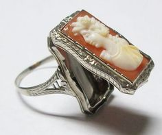 Stunning Antique 14k White Gold Hand-Carved Shell Cameo Poison Ring | eBay