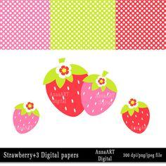 Strawberries Clip Art  digital clip art summer by AnnaArtDigital