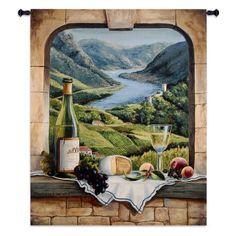 Fine Art Tapestries Rhine Wine Moment Wall Tapestry, Beige