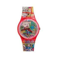 Vintage Swatch Tokyo Manga Watch ($100) ❤ liked on Polyvore featuring jewelry, watches, accessories, vintage, multicolor jewelry, analog watches, water resistant watches, colorful watches and american apparel watches