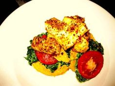 Curried Polenta with spicy tofu and coconut spinach