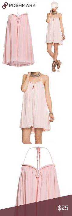 Summers Yours-Midi Dress The Summer Yours Dress- Blush Midi Dress Flowy Fabric Lining Ties at The Neck Halter Neckline Backless Keyhole Cutout Runs Large, Order 1 Size Up 100% Rayon Dry Clean Only Made in China Dresses Midi