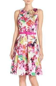 Eliza J Floral Faille Fit & Flare Dress (Regular & Petite)