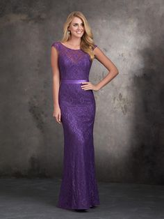 82fc2df7d6 Allure 1404 The delicate lace overlay on this cap sleeve long bridesmaid  dress is finished with