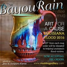 I'm trying to raise money for those affected by the flood with the gifts God has given me. So if you want to help and want a beautiful mug also, click on the link below. (FYI - I can now also accept partial payments and layaways through Laybuys, just choose that option when you're ready to check out. ) Thanks! #louisianastrong #laflood2016 #instaart #teacups #mug #pourover #iris #clay #cups #ceramic #lamaisoncréole #ceramicart #onlylouisiana #tea #pottery #coffee #photooftheday #art…