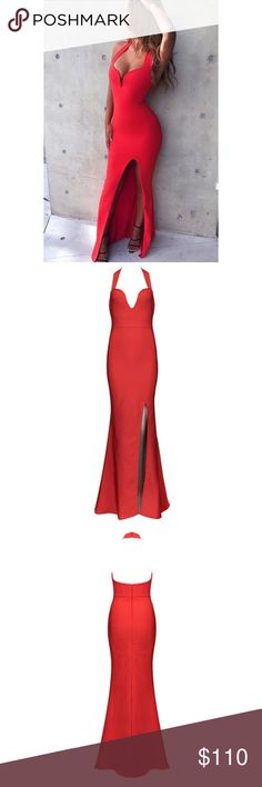 Bandage Gown Dress w/ High Slit Beautiful red bandage gown w/ high slit! Stretchy fabric that hug your curves. Can be worn for special formal events, weddings or prom/balls. Brand new, never worn. Dresses Maxi