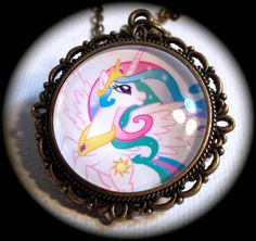 Princess CELESTIA . Glass My LITTLE PONY Pendant by girlgamegeek, $11.11