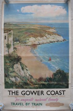 Original Railway Poster The Gower Coast, by Arthur Burgess. Sold by originalrailwayposters.co.uk