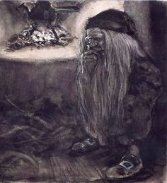 "Tomte illustration by John Bauer. The word ""tomt"" in Swedish means ""homestead"" or ""lot"". The tomte was the mythical caretaker of the farm and the family. Every home had one. You'd do best treating him as one of your own."