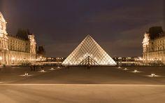 Paris night architecture photography France Louvre museum  / 1920x1200 Wallpaper
