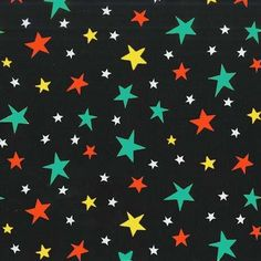 Stars in Multi on Black from the Bot Boy and Bot Dog collection by Michael Miller. Sewing Terms, The Wiggles, Thing 1, Michael Miller Fabric, Printing On Fabric, Crafty, Stars, Pattern, Projects