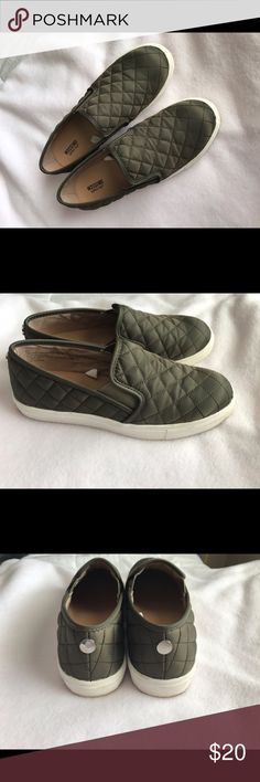 slip on shoes olive green, quilted slip on shoes. only wore once Mossimo Supply Co. Shoes Flats & Loafers