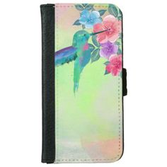 Cool cute  vibrant watercolours hummingbird floral iPhone 5 wallet cases
