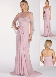 Mother of the Bride Dresses - $120.99 - A-Line/Princess Sweetheart Court Train Chiffon Mother of the Bride Dress With Ruffle (00805007098)