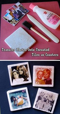 35 Easy DIY Gift Ideas People Actually Want (for Christmas & more!) - People Photos - Ideas of People Photos - 35 Easy DIY Gift Ideas That People Actually Want Custom photo coasters! Diy Photo, Photo Craft, Diy Projects To Try, Crafts To Do, Craft Projects, Photo Projects, Easy Diy Gifts, Homemade Gifts, Photo Deco