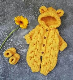 yellow Сrochet baby romper,crochet baby booties,baby girl boy knitted jumpsuit,newborn baby winter c Winter Baby Clothes, Baby Winter, Best Baby Gifts, Baby Christmas Gifts, Crochet Baby Booties, Crochet Hats, Overall, Baby Knitting, Baby Shop