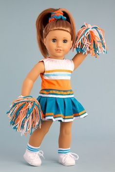 Cheerleader - 6 piece cheerleader outfit includes blouse, skirt, headband, pompons, socks and shoes - American Girl Doll Clothes Price : $20.97 http://www.dreamworldcollections.com/Cheerleader-cheerleader-headband-pompons-American/dp/B009FE91PC