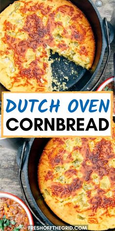 This Dutch Oven Cornbread is loaded with cheddar cheese and green chiles, making it a flavor packed addition to your camping menu. Best Dutch Oven, Cast Iron Dutch Oven, Grilling Recipes, Crockpot Recipes, Cooking Recipes, Amish Recipes, Dutch Recipes, Dutch Oven Camping, Dutch Oven Meals