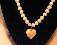 Cultured Baroque fresh water Pearl necklace with natural cream heart. OOAK One of a kind. Sweet! - Edit Listing - Etsy