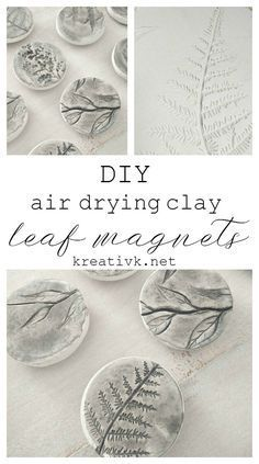 diy air drying clay leaf magnets http://kreativk.net #DIDI @KreativKnet