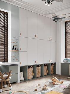 Toy Room Storage, Living Room Storage, Luxury Kids Bedroom, Kids Room Design, Kid Spaces, Kids Decor, Home Decor, Interiores Design, Room Decor Bedroom
