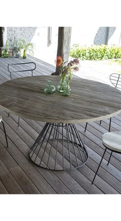 Shop the Brand: Tikamoon Rustic Industrial Furniture, Industrial Chic Decor, Solid Wood Furniture, Table Furniture, Outdoor Furniture, Metal Outdoor Table, Wood Patio, Outdoor Tables, Outdoor Decor