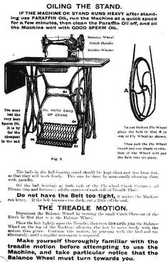 Instructions for oiling the Jones sewing machine treadle.- Instructions for oiling the Jones sewing machine treadle. Instructions for oiling the Jones sewing machine treadle.