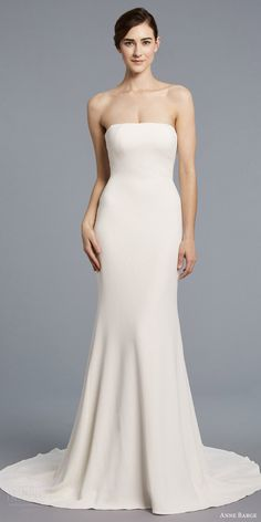anne barge spring 2018 bridal strapless straight across minimal embellishment sheath column wedding dress (bardot) mv train -- Anne Barge Spring 2018 Wedding Dresses #wedding #Bridal #Weddingdress