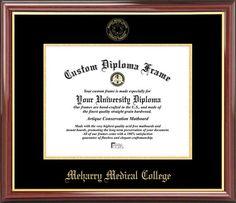 Meharry Medical College Diploma Frame - Embossed Seal - Mahogany Gold Trim