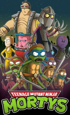 Rick and Morty x Teenage Mutant Ninja Turtles Rick And Morty Crossover, Cartoon Mignon, Rick I Morty, Ricky And Morty, Rick And Morty Poster, Cartoon Crossovers, Comic Movies, Movie Tv, Teenage Mutant Ninja Turtles