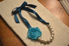 Rosie: Beautiful Large Ivory Pearl Necklace with Teal Ribbon Tie and Aqua Flower on Etsy, $18.00