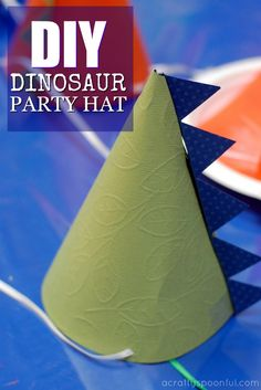 Find out how easy it is to make a dinosaur party hat with this template and some paper.