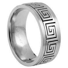 316L Stainless Steel Greek-Key Design Ring for Men JewelryVolt. $9.95. Made of 316L stainless Steel. Band Width: 9 mm. Design: Greek Key