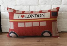 "12""x20"" linen British bus Retro style decorative Waist pillow case/pillow cover / throw pillow cover / cushion cover"