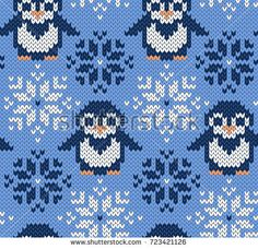 Winter blue background with cute anim… Penguin jacquard knitted seamless pattern. Winter blue background with cute anim… Fair Isle Knitting Patterns, Knitting Charts, Knitting Designs, Knitting Stitches, Baby Knitting, Motif Fair Isle, Fair Isle Chart, Jersey Jacquard, Penguin