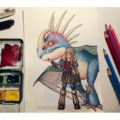 """Great #watercolor & #coloredpencil #illustration by @susanne_draws of #Astrid & #Stormful from #HowToTrainYourDragon! I think Astrid's about to mess someone up! Great work Susanne! ----- Hope you're enjoying your """"ride"""" on our #CreativeAirship! If you like this piece please be sure to  the original too!"""