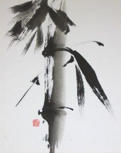Lois Yoshida Bamboo Sumi E Painting, Korean Painting, Japanese Painting, China Painting, Bamboo Tattoo, Bamboo Art, Tinta China, Chinese Brush, Art Japonais