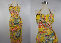 1950's Vintage Yellow Hawaiian Tiki Sarong by vintagebluemoon, $400.00