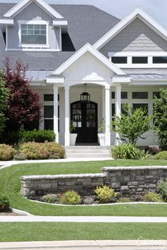How to Choose the Right Exterior Paint Colors Traditional exterior home painted white and light gray Exterior Gray Paint, White Exterior Houses, Exterior Paint Colors For House, Exterior Trim, Paint Colors For Home, Exterior Colors, Exterior Design, Exterior Homes, Exterior Paint Color Combinations