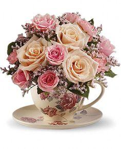Teleflora's Victorian Teacup Bouquet Flowers